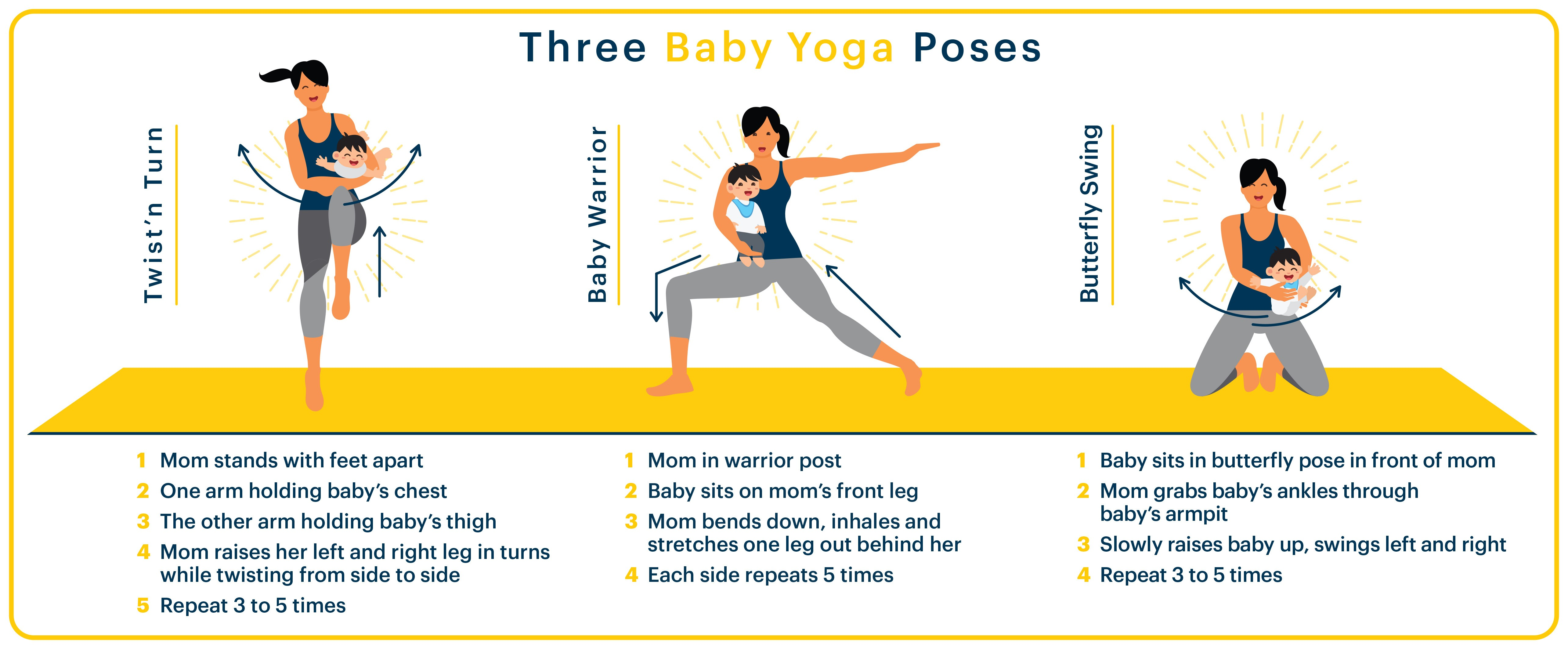 Three baby yoga poses create parent-child moments.